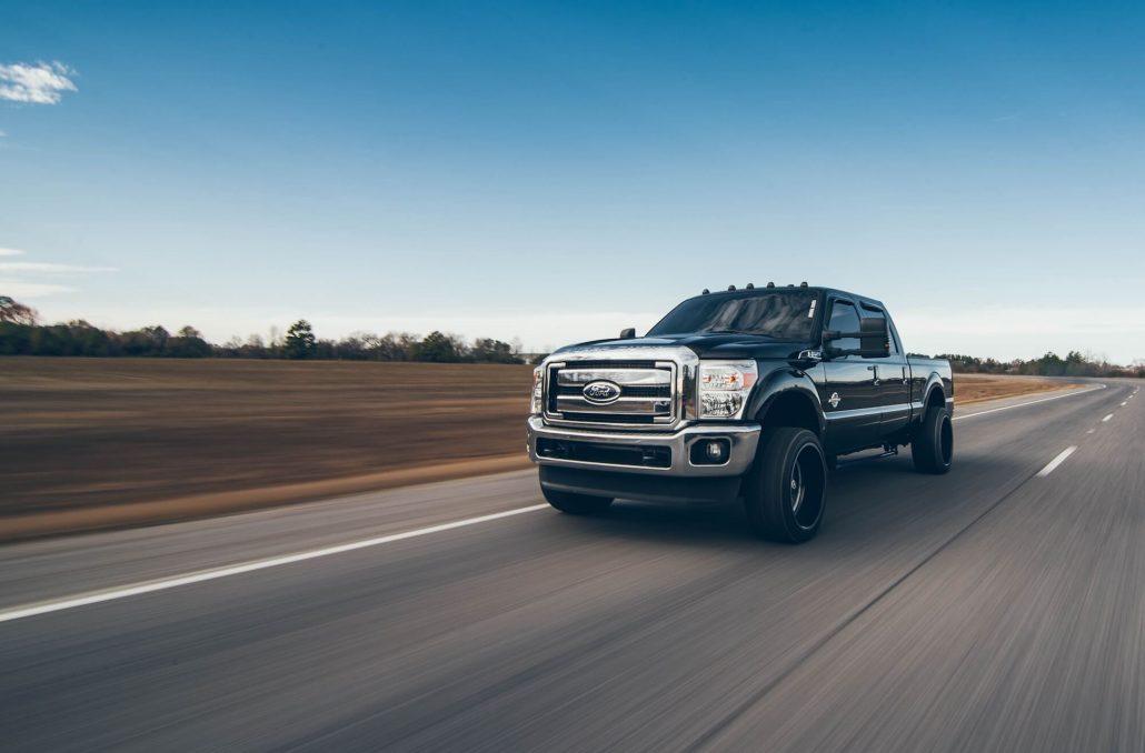 ford powerstroke truck on highway
