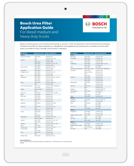 bosch urea diesel filter application guide download